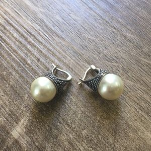 .925 Sterling Silver Marcasite and Pearl Earrings
